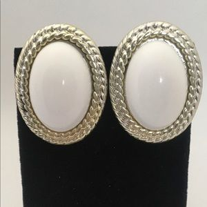 White cabochon dome clip on earrings